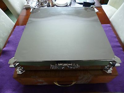 A Stunning Large Square Vintage Silver Plated Cake Display Stand With Case
