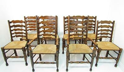 Set Of 8 Eight Ladder Back Chairs Refectory Chairs With Carver Chairs