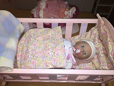 Baby Born, Wooden Cradle, Clothes, Bath, bottles, hats, backpack