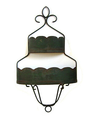 Vintage Oversized Iron and Metal Two Section Wall Planter Garden Wall Hanging