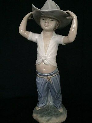 """Nao by Lladro - 10"""" Young Cowboy Figurine - Cute"""