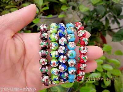 5PCS Wholesale Various Color Cloisonne Beads Bracelets
