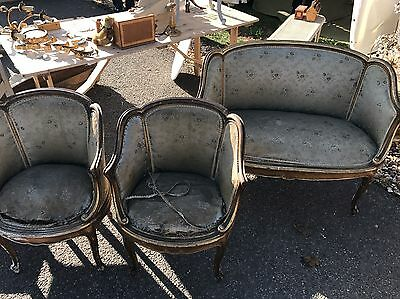 French, 18/19th Century, Antique, Vintage, Rococo Suite, Chairs + Sofa
