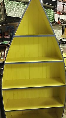 Blue and Yellow Boat Shaped Book Case
