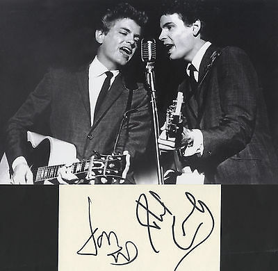 The Everly Brothers - In Person Signed White Card with Photograph.