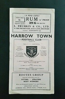 Harrow Town v Metropolitan Police Programme January 1957