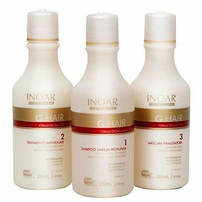 INOAR Brazilian Keratin Ghair Treatment Blow Dry System 3 X 250ML