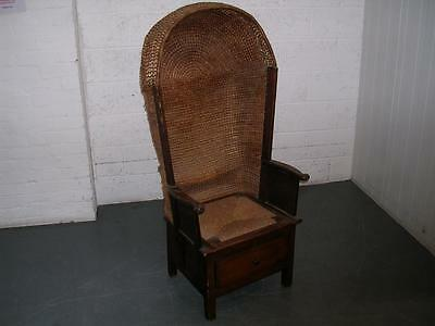 Antique Orkney chair with hood and drawer circa 1890.