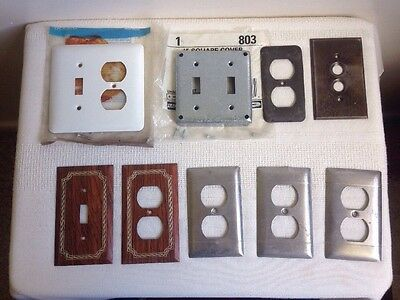 Vintage Odd Lot 9 Metal Outlet Covers Plates White Brown Chrome Push Button