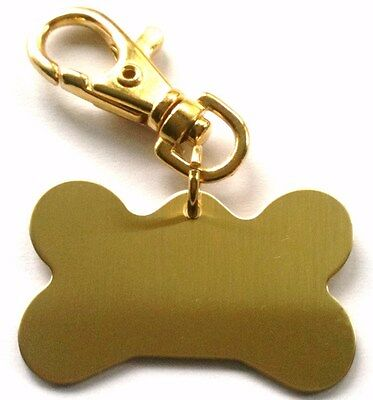Pet ID Tags - Large Dog Bone Shaped Tag with Spring Loaded Clip, ENGRAVED FREE