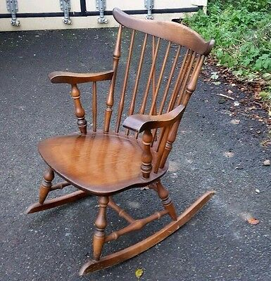 Rocking Chair Solid Wood Antique Style Oak Colour Stoe Yugoslavia