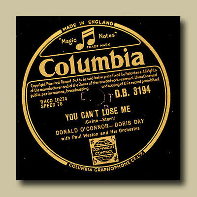DORIS DAY & DONALD O'CONNOR You can't lose me/No two people    78rpm     S2146