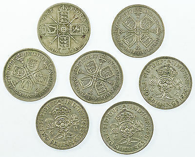 Great Britain, George V/vi Florin Collection, Silver, 7 Coins, 1921-1942
