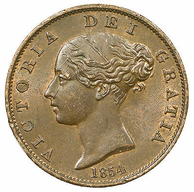 Great Britain, Victoria Halfpenny, High Grade With Lustre, 1854