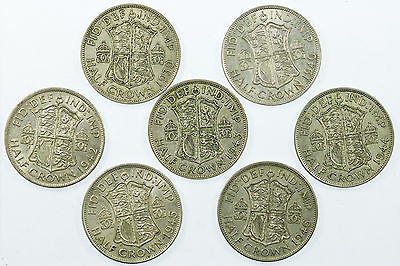 Great Britain, George Vi Halfcrown Collection, Silver, 7 Coins, 1939-1946