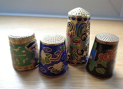 Four Cloisonne Brass Enamel Sewing Thimbles: 2 Bird Pharoh and 1 Flower Pattern