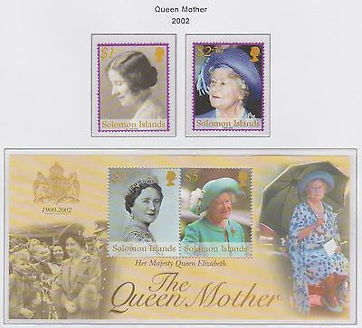 Solomon Islands 'Queen Mother' 2002 M/Sheet & 2 Stamps U/Mint