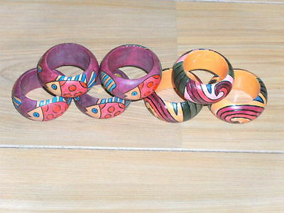 Lot Of Modern Painted Wooden Napkin Rings-7 In Total (Four With Fish Design)