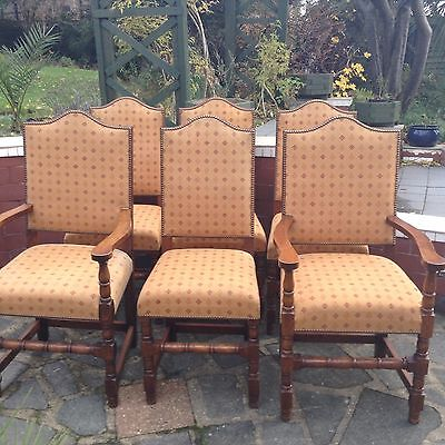 Antique / Vintage Set 6 solid oak dining chairs to include 2 carvers upholstered