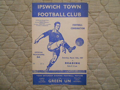 Ipswich Town Res V Reading Res Football Combination Match Programme 1957
