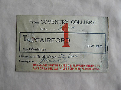 Great Western Railway GWR Wagon Label Coventry Colliery to Fairford 1929