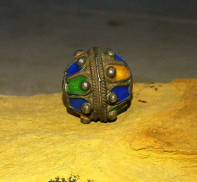 Charming! Antique Sterling Silver Enamel Berber Egg Morrocan Thorn Bead Tribe