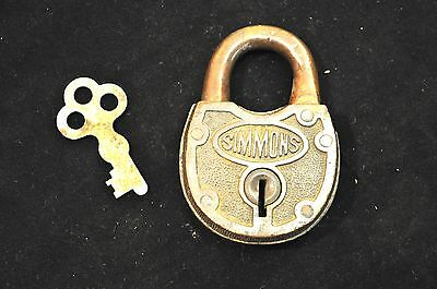 Simmons Antique Brass Padlock With Key
