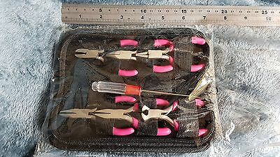 Zip up Case of 7 Small Jewellery Tools inc 6 Pink Pliers