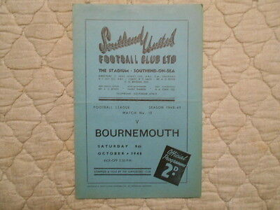 Southend Utd V Bournemouth Third Division Match Programme October 1948