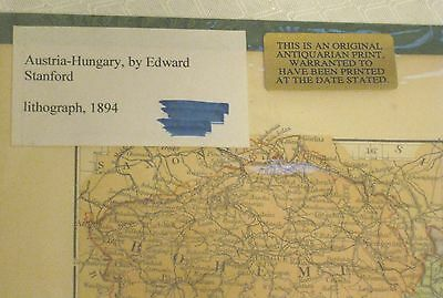 antique original Austria-Hungary Lithography 1894 map Edward Stanford