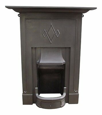 Victorian Antique English Cast Iron Fireplace / Fire Mantel - Diamond