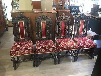 Set 4 Beautifully Carved Victorian Style Oak Dining Chairs