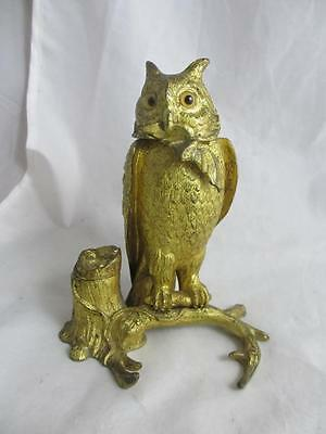 ANTIQUE VICTORIAN WELL CAST gilded BRONZE owl with bat INKWELL & BOX  15 cm 6""