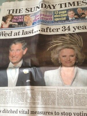 old newspaper April 2005 The Sunday Times Wedding Of HRH Charles And Camiila