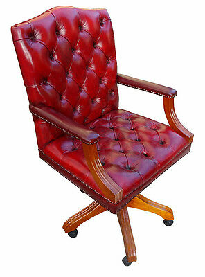 Oxblood Red Leather Gainsborough Chesterfield Captains Office Desk Chair