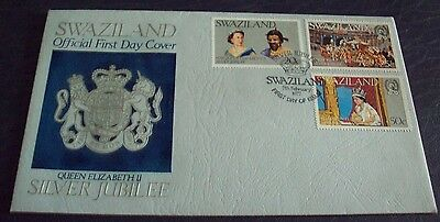 Swaziland : 1977 Silver Jubilee : Pictorial FDC 3 stamps on cover