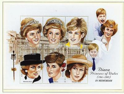 GB stamps, Princess Diana Memorial stamps from Cen'trafricaine