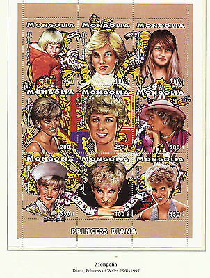 GB stamps, Princess Diana Memorial stamps from Mongolia