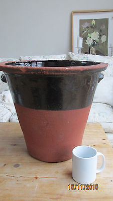 Large antique Earthenware pot semi glazed brown dairy pancheon