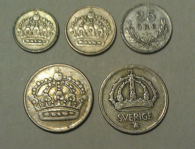 Sweden Silver coins - all with silver content - all 5 Swedish coins as shown
