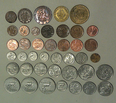 South Africa 41 different coins predecimal farthing, halfpenny penny & decimal