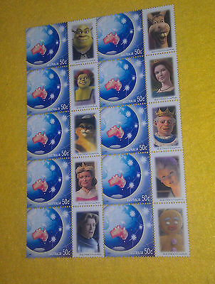 2003 SHREK 2 animated movie characters sheet of stamps Fiona Donkey Puss etc
