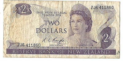 NZ New Zealand old $2 dollars paper banknote R.L. (Lindsay) Knight
