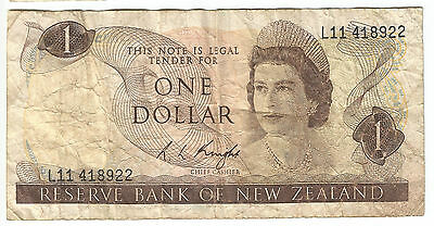 NZ New Zealand old $1 dollar paper banknote R.L. (Lindsay) Knight