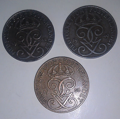3 x 5 Ore coins Sweden 1948 1949 & 1950 2 x Iron and 1 Bronze approx 26mm