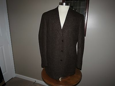 Saks Fifth Avenue Men's Brown Plaid Blazer 42R 3 Button Fully Lined