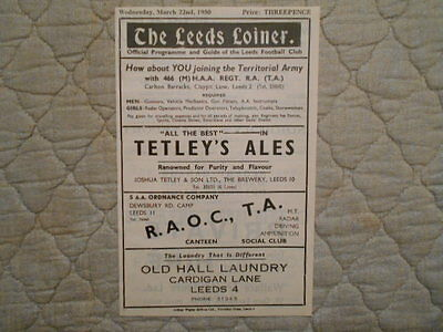 Leeds V Hull Rugby League Match Programme 1950