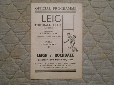 Leigh V Rochdale Rugby League Match Programme 1957