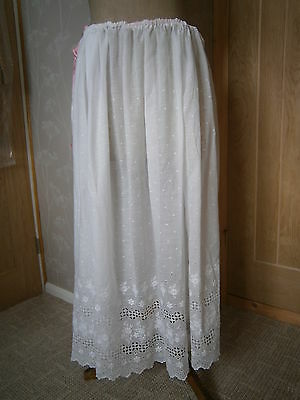Antique Edwardian ladies white broderie anglais full length petticoat  c1905