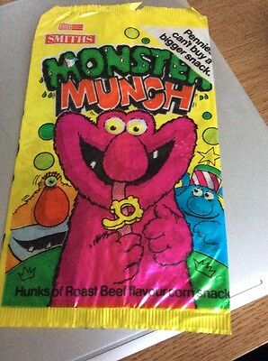Smiths Monster Munch Beef Flavour Empty Crisp Packet 1986
